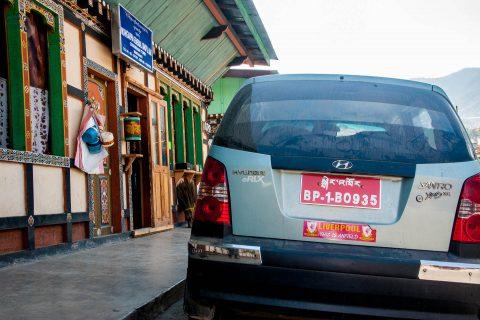 Car with Liverpool sticker, Chamkhar, Bhutan