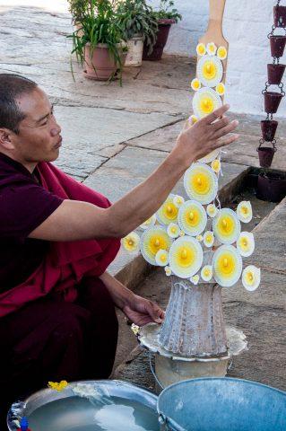 Making tormas at Sangchhen Nunnery, Punakha, Bhutan