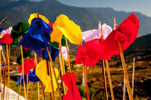 Prayer flags, Sangchhen Nunnery, Punakha, Bhutan