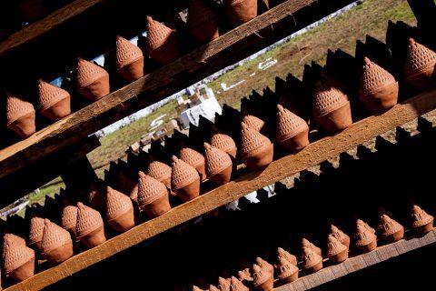 Clay offerings drying, Sangchhen Nunnery, Punakha, Bhutan
