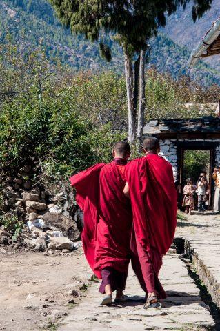 Monks at Kyichu Lhakhang, Paro, Bhutan