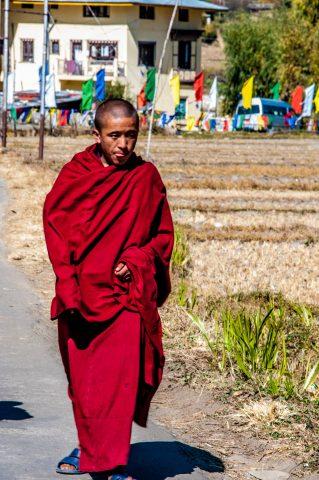 Monk near Kyichu Lhakhang, Paro, Bhutan