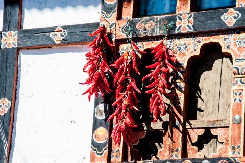 Drying chillis, Paro house, Bhutan