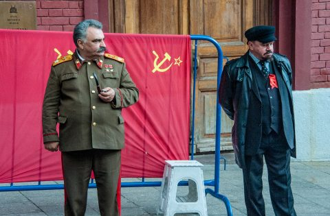 Stalin and Lenin near Resurrection Gate, Red Square, Moscow