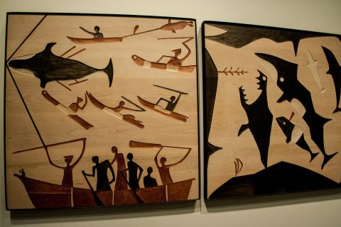 Whaling Celebration panels (R Senungetuk) Anchorage Museum, Alas