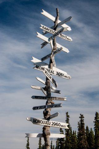Denali NP fingerpost, Alaska