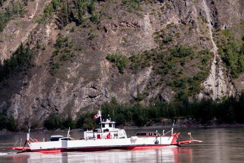 Ferry across Yukon River to Dawson City, Canada