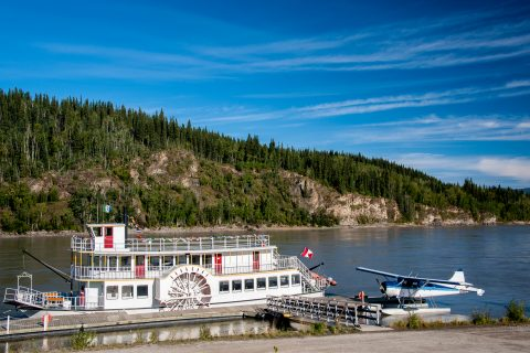 Sternwheeler & float plane, Yukon River, Dawson City, Canada