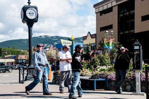 Lining up for phone!, Whitehorse,  Yukon, Canada