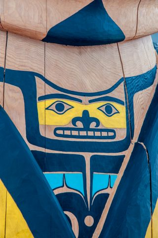 Totem pole  decoration, Carcross Tagish First Nation people,, Yu