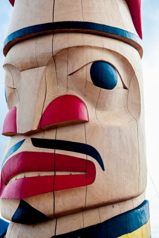 Totem pole decoration, Carcross Tagish First Nation people, Yuko