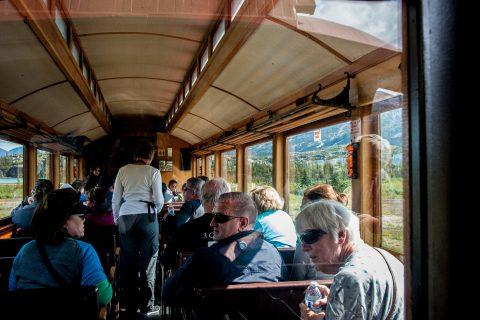 White Pass & Yukon Route vintage coach, Skagway, Alaska