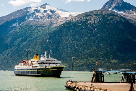 Haines ferry arriving Skagway, Alaska