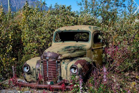Abandoned vehicle, Destruction Bay, Kluane Lake, near Haines Jun