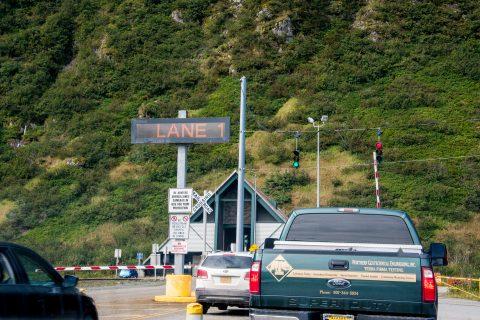 Waiting for road-rail tunnel, Whittier, Alaska