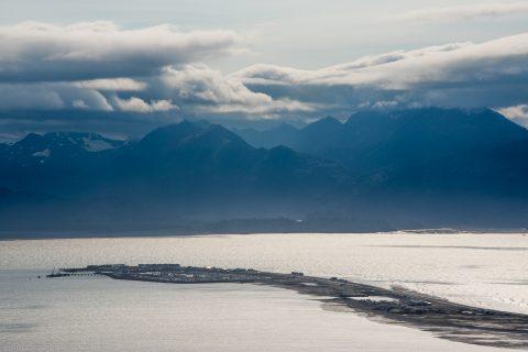 Homer Spit and Kachemak Bay from Homer town, Alaska