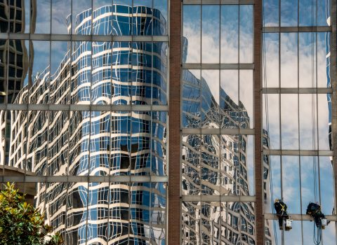 Reflections with window cleaners, Vancouver