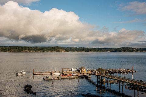 Jetty and Quadra Island form Panter's Lodge, Vancouver Island