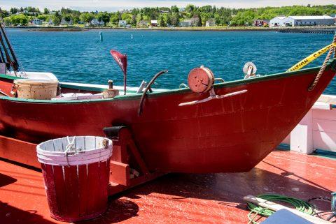 Dory on Theresa E Connor (wooden whaling schooner) Lunenburg, NS