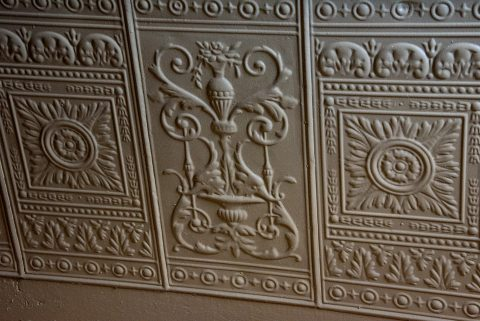 Victorian tin wall cladding, Albert County Museum, NB