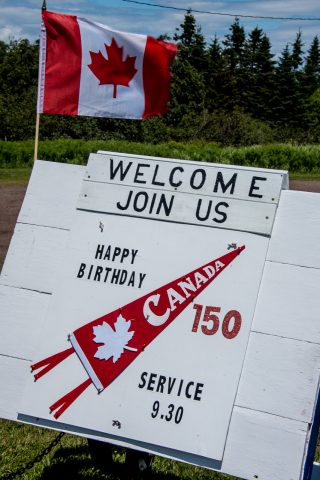150 Canada Day sign, New Horton, NB
