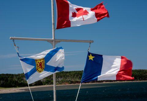 Canada, Nova Scotia & Acadia flags, Cheticamp