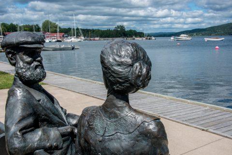 Alexander Graham Bell and wife statue, Baddeck. NS
