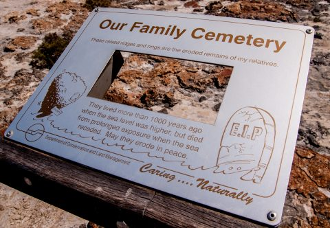 Stromatolites information sign, Hamelin Pool, WA