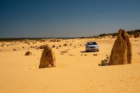 Driving in the Pinnacles Desert, Nambung National Park, Cervante
