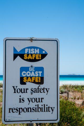 Warning sign, Le Grand Beach, Esperance, WA