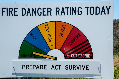 Fire warning sign, Le Grand Beach, Esperance, WA