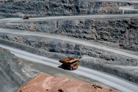 View of earth moving lorries in Super Pit, Kalgoorlie- Boulder,