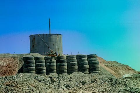 Reused tyres at top of Super Pit, Kalgoorlie-Boulder, WA
