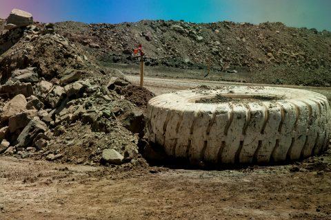 Reused tyre at top of Super Pit, Kalgoorlie-Boulder, WA