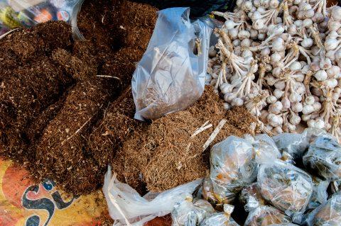 Market stall, Lanten village, Laos