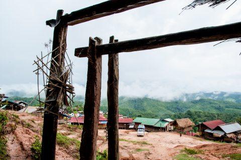 Ceremonial entrance to Akha village, Laos
