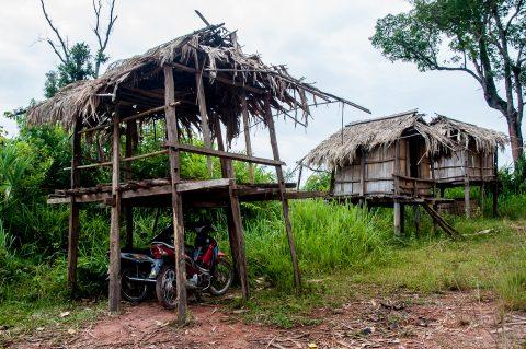 Motorcycle garage, Akha village, Laos