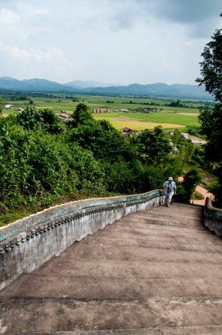 Entance to Buddhist temple, Akha village, Laos