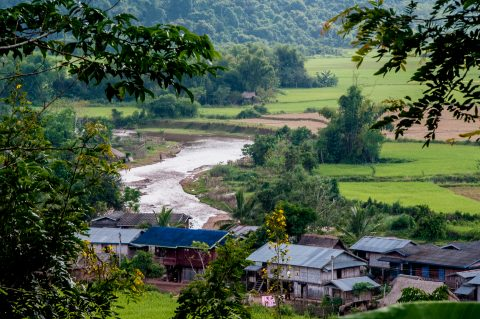 Nam river and Akha village, Laos