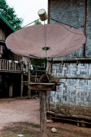 Satellite dish in Akha village, Laos