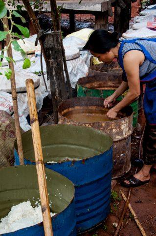 Preparing food, Akha village, Laos