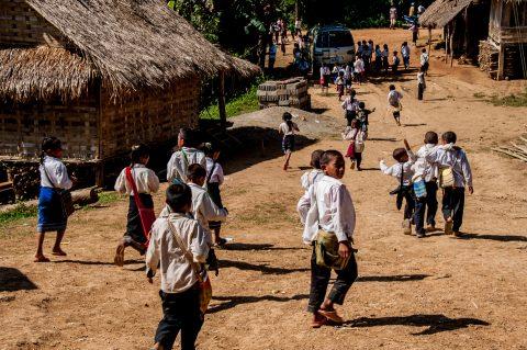 Out of school, Hmong village, Laos