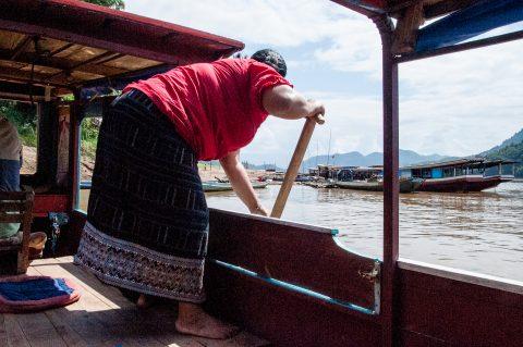 Coming into moor, Nam Ou River, Laos