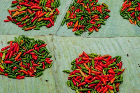 Chillis, market, Luang Prabang, Laos