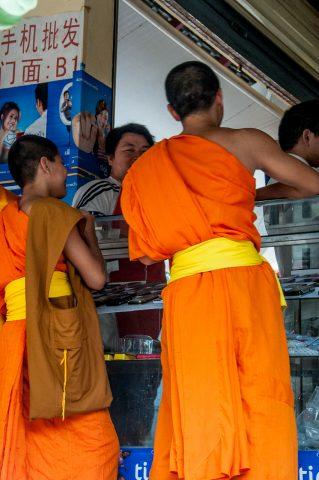 Monks in market, Luang Prabang, Laos