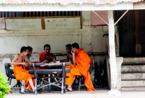 Wat Wisunarat monks, Luang Prabang, Laos