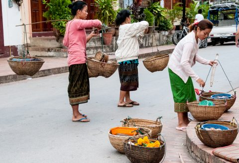 Sellers of breakfast alms, Luang Prabang, Laos