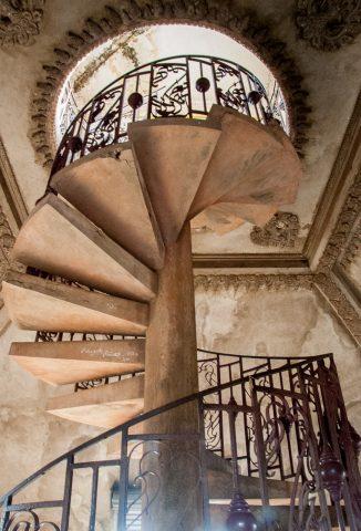 Stairs inside Patuxai, Vientiane, Laos