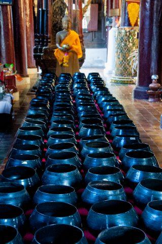 Monks alms bowls, Chiang Mai, Thailand