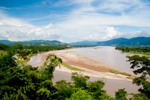Mekong in Golden Triangle region from Thailand
